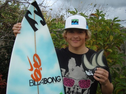 Lyndon Wake with his new fins.