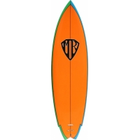 62 Retro Twin, Orange Deck White Btm Blu-Grn Rail TL - H3033